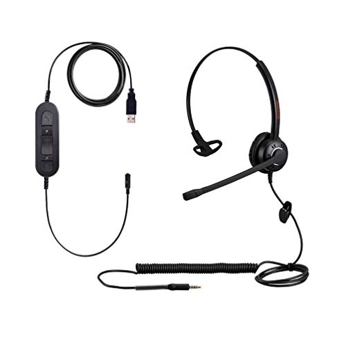 Corded USB Headsets Computer Headphone with Microphone for PC Laptops Teams Skype Wired 3.5mm Cell Phone Headset for Cellphones Mobiles Tablets Androids BlackBerry Samsung iPhone Huawei iPad MacBook