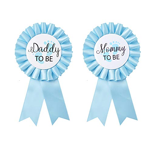 Daddy to be & Mom to be Tinplate Badge Pin - Baby Shower Button New Dad Gifts Gender Reveals Party Baby Boy Blue Rosette Button Baby Celebration (Sky Blue)