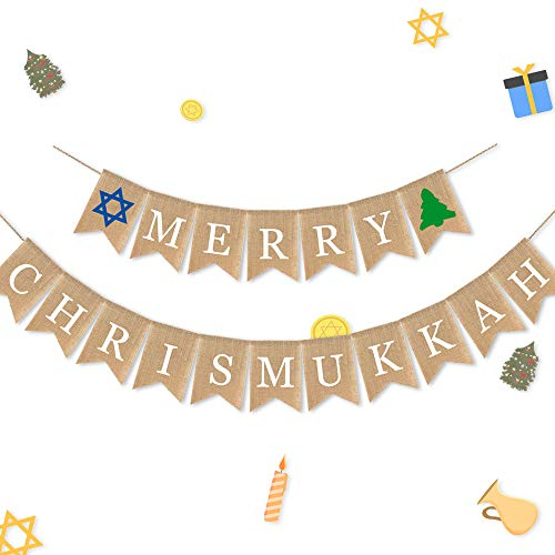 7-gost Burlap Merry Chrismukkah Banner Christmas and Hanukkah Party Garland Supplies Decorations(Christmas Tree Sign)