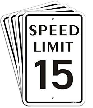 4 Pack Speed Limit 15 MPH Signs Metal Reflective 12  x 18  Rust Free Aluminum Easy Mounting Outdoor Use Waterproof and Durable Ink
