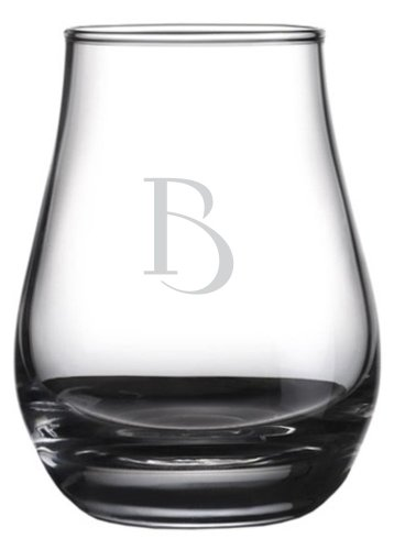 Celtic Etched Monogram Spey Dram Whisky Tasting Glass (Letter B)