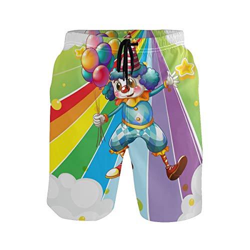 BONIPE Herren Badehose Funny Clown mit Luftballons in der bunten Regenbogenstraße Quick Dry Boardshorts mit Kordelzug und Taschen Gr. XXL, mehrfarbig