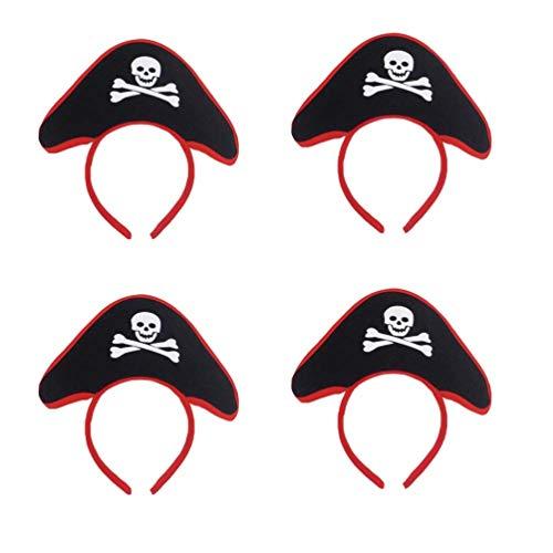 Lurrose 4 stücke Piraten Kostüm Haarreifen Stirnband Piraten Hut Kopfbedeckung Halloween Karneval Accessoire