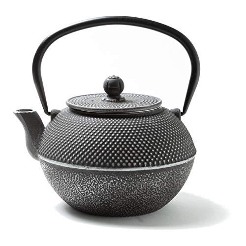 Tealøv TEEKANNE GUSSEISEN 1,1 Liter - Gusseisen Teekanne im japanischen Stil - Gusseiserne Teekanne mit Sieb aus Edelstahl - Hervorragende Wärmespeicherfähigkeit - Langlebig - Arare Silber