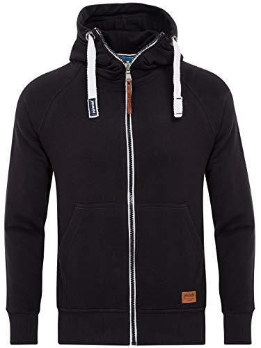 Yazubi Zip Pullover Schwarzer Kapuzenpullover Herren Sweatjacke mit Kapuze Übergroßer Hoodie Zipper Sweater Jacob, Schwarz (Black 2R194008), 5XL