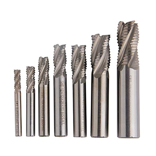 XYXXBB 1pc 4-Flute Roughing Carbide Milling Cutter HSS End Mill Spiral Router Bit Diameter 6mm-20mm Straight Shank CNC Tools (Cutting Edge Diameter : M12)