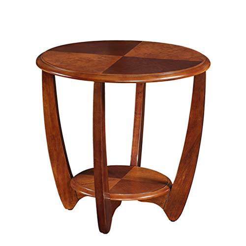 Meng Wei Shop Couchtische Hölzerner Kleiner Kaffeetisch lebender runder Tisch einfacher runder Kaffeetisch Schlafzimmer Kleiner Tisch Telefontisch Speisetisch (Color : Brown, Size : 60x60x58.5cm)