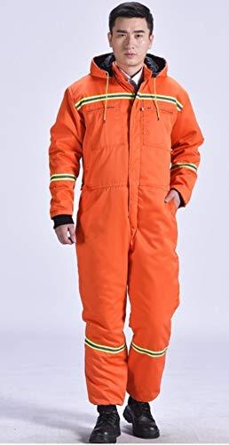 Reflecterend vest waarschuwingsvest reflecterende winteroveralls warme, katoen gevoerde werkkleding met capuchon stofdicht anti-fouling vissen wintermantels buiten werkoveralls Medium oranje