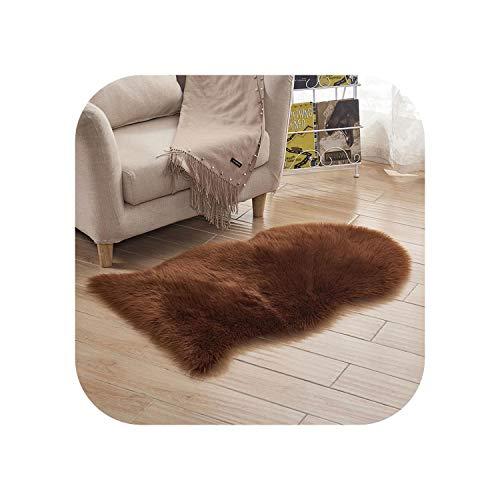 Teppich Schlafzimmer  Pelz Künstliches Schaffell Haariger Teppich Wohnzimmer Schlafzimmer Teppiche Haut Fell Einfach Flauschige Teppiche Waschbares Schlafzimmer Kunstmatte-Dunkelbraun-40x60cm