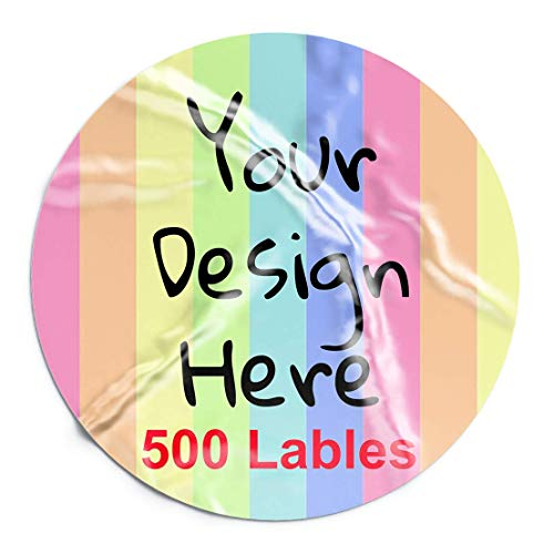 Custom Stickers Lables Personalized Labels 500 pcs Custom Stickers for Business Logo Glossy Custom Logo Stickers with Text Image Logo Wedding Favors Products Packaging (1.5 inch Circle)