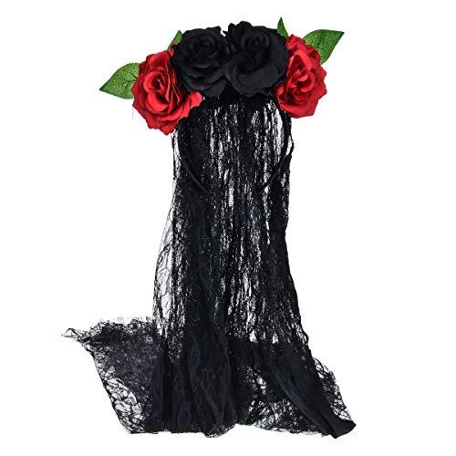 Ever Fairy Damen Halloween Stirnband künstliche Rose Hochzeit Kranz Gothic Blumen Krone Tüll Schleier Girlande. (Schwarz)