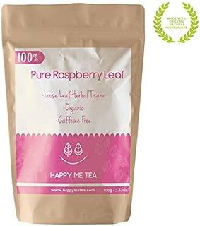 HAPPY ME TEA Raspberry Leaf Tea - 100% Pure Organic Raspberry Tea - Caffeine Free Tea For Pregnancy (100g)