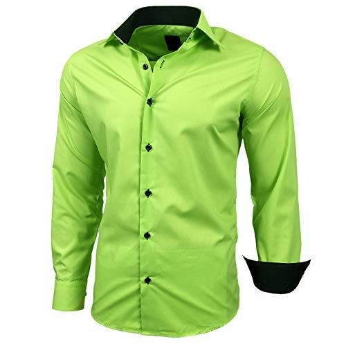 Baxboy Herren-Hemd Slim-Fit Bügelleicht Für Anzug, Business, Hochzeit, Freizeit - Langarm Hemden für Männer Langarmhemd R-44, Größe:L, Farbe:Grün