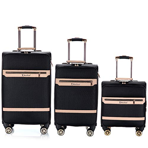 TUW 16''20''24 inch suitcase on wheels travel trolley luggage cabin suitcase carry on bag 3pcs PU leather rolling luggage set,3pcs Black,16'