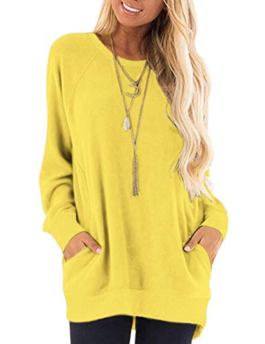 MISFAY Womens Casual Long Sleeve Round Neck Pocket T Shirts Blouses Tunic Sweatshirt Tops with Pocket 2XL Yellow