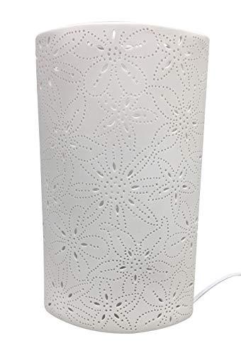 GILDE Tisch Lampe Blumen Design - aus Porzellan weiß mit Loch Muster H 28 cm