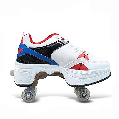 WEDSGTV Rollschuh Roller Skates Kinder Verstellbar 2in1 Mehrzweckschuhe Schuhe Mit Rollen Skateboardschuhe,Inline-Skate,Verstellbare Quad-Rollschuh,Blue-EU34/UK2-2.5