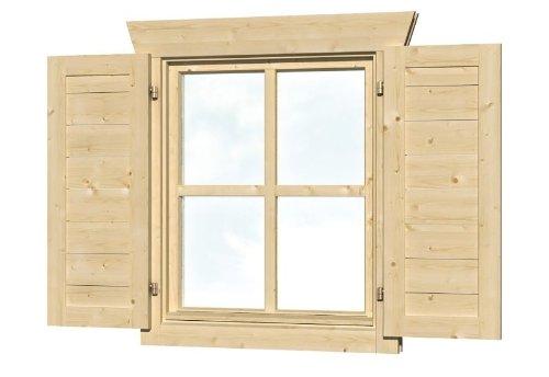 Skan Holz Fensterläden für Einzelfenster Gartenhäuser - Zubehör, Natur, 2,5x57,5x70,5 cm