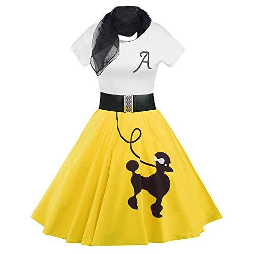 DressLily Retro Poodle Print High Waist Skater Vintage Rockabilly Swing Tee Cocktail Dress (Medium, Yellow)