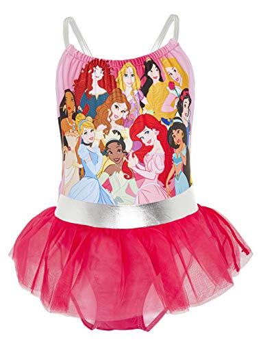 Disney Bademode Kinder Mädchen, Badeanzug Prinzessinnen Meerjungfrau Ariel Cinderella Jasmin, Einteiler Schwimmanzug UV Schutz, Badeset Kleinkind, Geschenke ab 2 Jahren (4/5 Jahre, Pink)