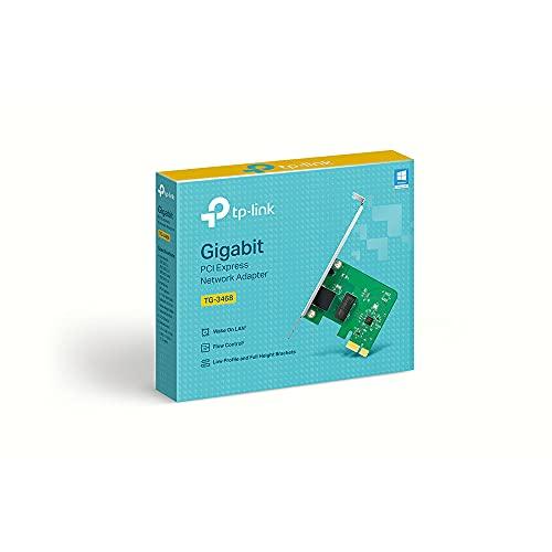 TP-Link TG-3468 - Adaptador WiFi Gigabit PCI Express (10/100/1000 Mbps), Puerto RJ45, control de flujo 802.3x, Wake-on-LAN, 32 bits, Compatible con Windows