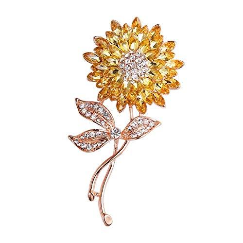 Broche de perlas Broche de girasol de perlas Broche de flor de sol de diamantes de imitación Broche Accesorios (A)