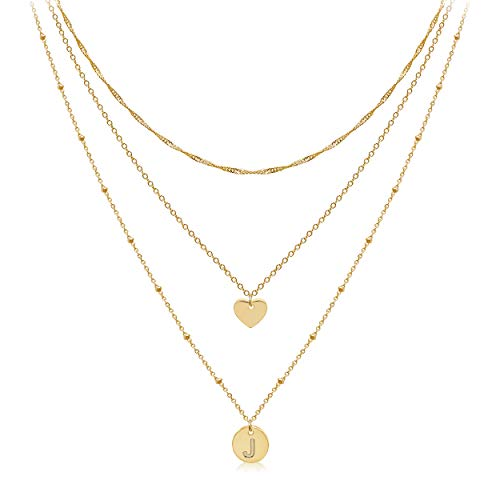 Aisansty Layered Gold Heart Initial Necklaces for Women Girls 14K Gold Plated Handmade Dainty Tiny Heart Personalized Letter Coin Pendant Adjustable Layering Chain Choker Necklaces,J Necklace