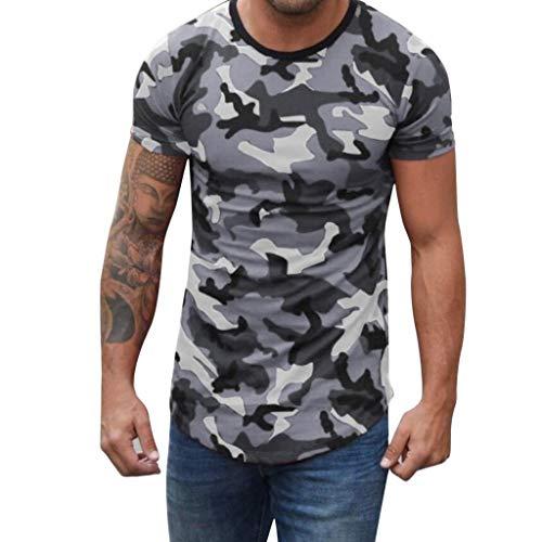 Camisetas de Manga Cortas para Hombre con Cuello Redondo Originales Camuflaje de Moda Camiseta Hombres Fitness Camisa elástica Casual Blusa Tops riou