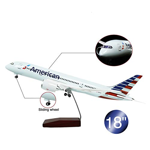 HANG OU 46cm LED-Beleuchtung 1:130 Modellflugzeug American Airline Boeing 787 mit Fahrwerk Flugzeug Geschenk oder Deko