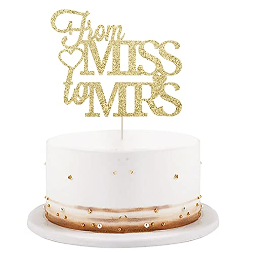 LVEUD Golden from Miss to Mrs Cake Topper - Miss to Mrs with Diamond Ring Cake Topper for Bridal Shower, Wedding, Engagement Party Decorations