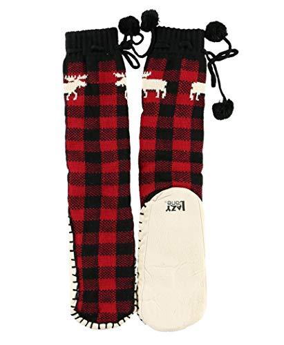 Lazy One Knitted Slipper Socks for Women, Cute Women's Clothing (Moose Plaid, S/M)