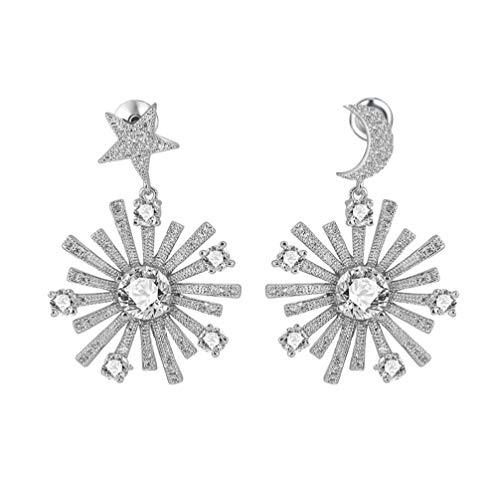 Craftuneed Simplicity - Pendientes de gota de piedra de circonita, plata 925, pin de San Valentín, regalo para su madre, cumpleaños, idea de regalo de Navidad