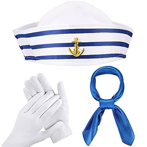 3 Stücke Blau mit Weiß Matrosen Hut Marineblauer Matrosen Hut Blau Satin Schal Seidengefühl Matrosen Halstuch Weiße Matrosen Handschuhe Set für Halloween Kostüm Party
