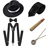 BABEYOND 1920s Mens Gatsby Gangster Costume Accessories Set Panama Hat Suspender (Style2-Black)