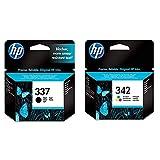 HP 337 C9364EE Pack de 1, Cartouche d'encre d'origine, Noir & 342 C9361EE Pack de 1, Cartouche d'encre d'origine, imprimantes HP DeskJet, HP OfficeJet, Trois Couleurs (Cyan, Magenta, Jaune)