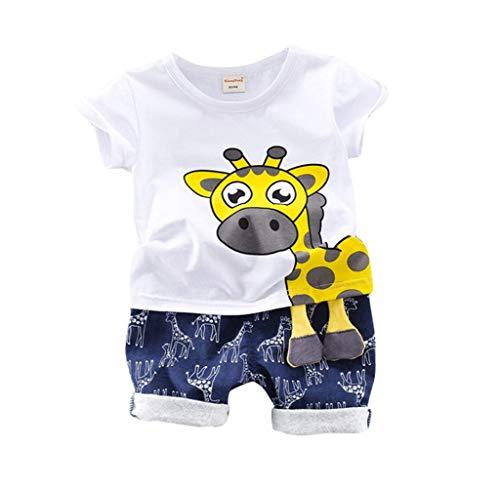 Jimmackey Vestiti Bambino Maschio Estate Abbigliamento Bambini Abiti Cerimonia Vestito Battesimo Bambino Top Maniche Corte con Stampa Giraffa T-Shirt Pantaloncini Set Due Pezzi