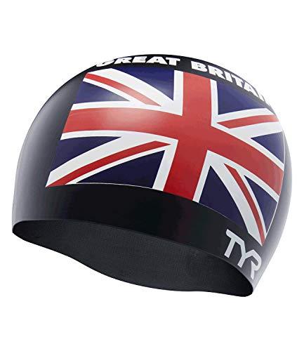 TYR Great Britain Silicone Fit, Cuffia da Piscina con Bandiera United Kingdom Unisex-Adult, Black