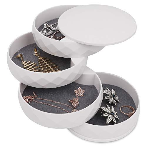 Allinside ジュエリーボックス 360度回転式アクセサリーケース 4段 ジュエリー収納 髪飾り収納 円筒形 蓋付き 小物入れ ホワイト