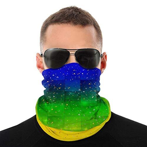 UKUK Patrón de gradiente azul oscuro verde dorado multifuncional headwear leggings mágicas bufanda máscara pasamontañas deportes yoga motocicleta equitación correr
