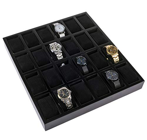 Watch Display Box Dressing Table Decoration Jewelry Storage Tray Holiday Gifts Simple and Stylish/Black / 38x35x4cm