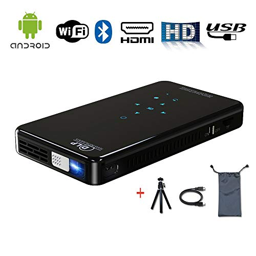 Mini Portable Projector,Pico DLP Video Projectors Android System for Smart Phone Same Screen HD 1080P Projector by SCNVO (Mini Projector X2)