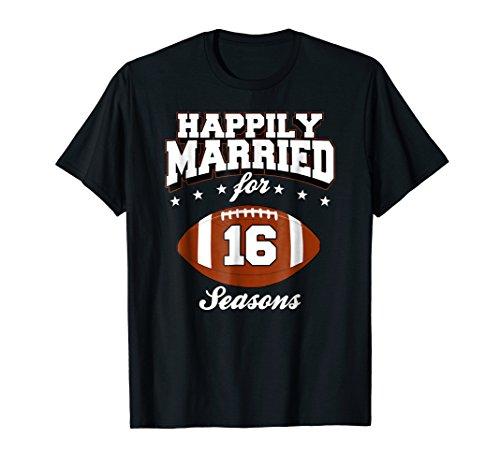 16 Years Wedding Anniversary T-Shirt Football Couple Gift