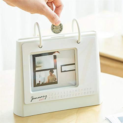 Geld-Kasten Kreative Can Put Fotos Piggy Bank Desktop-Tagebuch 2020 Desk Organizer Kalender Geld Banken (Color : White, Size : One Size)