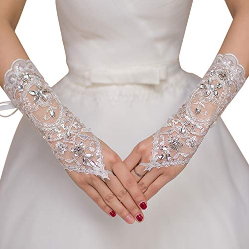 Ayliss Lace Gloves Fingerless Rhinestone Bridal Gloves for Wedding Party (White)