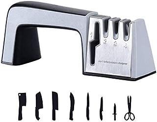 Skeido kitchen Knife Sharpener Scissor Sharpening 4 in 1, Stainless Steel, Non-slip Base and Ergonomic Design