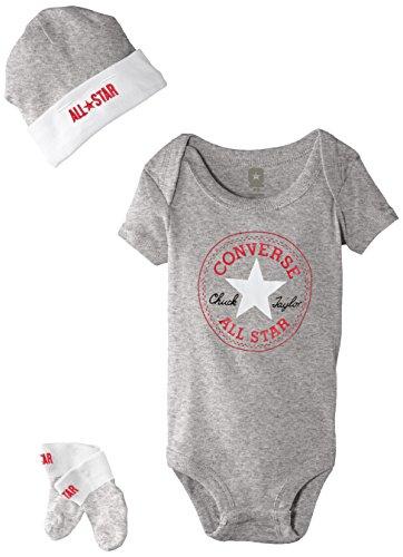 Converse Baby-Jungen 3 Piece Bekleidungsset, Grau (Vintage Grey Heather), 0/6 Monate (Herstellergröße: 0-6M)