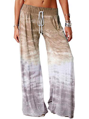 MLLM Pantalones de chándal elásticos para deportes, pantalones de yoga con gradiente sueltos, pantalones deportivos de pierna ancha impresos, pantalones de yoga para control de abdomen
