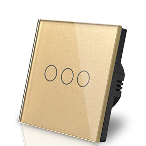 Interruptor de atenuación de 3 lámparas 110 V-250 V Marco de vidrio LED regulable Atenuador de 3 bandas Control táctil Interruptor de encendido inteligente de pared Gold