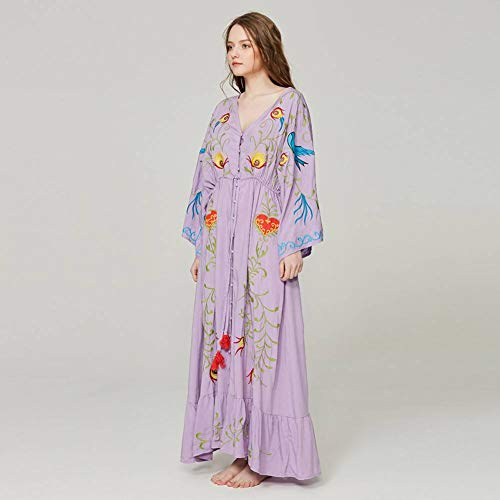 DAIDAILYQ Lose Beiläufige Kimono-Kleider Blumengesticktes Maxi-Kleid Boho-Rüschensaum-Strandkleider