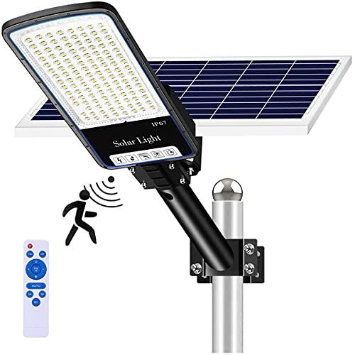 300w Solar Street Light,Solar Street Lights Outdoor 10000 Lumens,Dusk to Dawn Street Lights Solar Powered with Motion Sensor and Remote Control for Parking Lot Garden Yard Garage